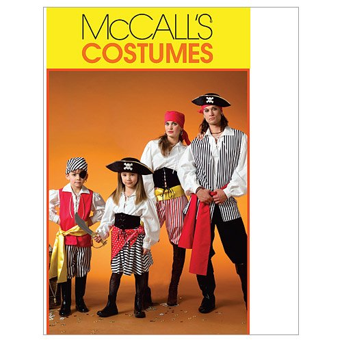 McCall's M4952 Men and Women's Pirate Halloween Costume Sewing Patterns, Sizes S-XL -