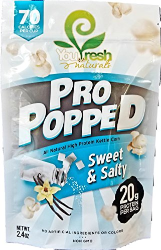 Dessert Protein Fresh Cinnamon Roll (You Fresh Naturals - Sweet & Salty Pro Popped - High Protein (20 grams per bag) Gluten-Free Popcorn Snack - Easy Prepare - 4 pack)