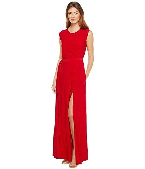 a4d8aa8a KAMALIKULTURE by Norma Kamali Women's Sleeveless Elephant Dress with Skinny  Belt Red Dress