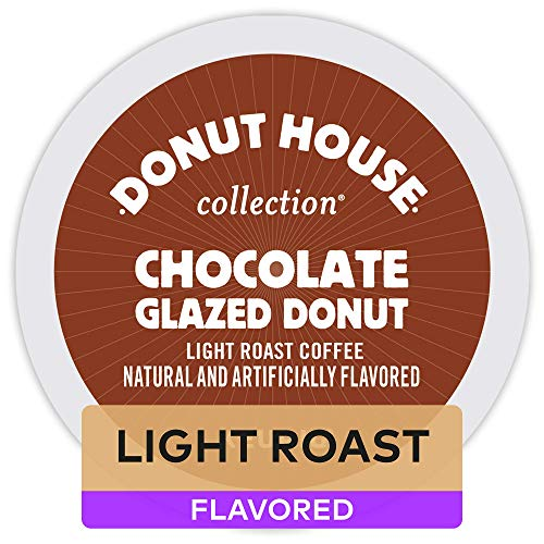 Dark Chocolate Glaze - Donut House Collection Chocolate Glazed Donut, Single-Serve Keurig K Cup Pods, Light Roast Flavored Coffee, 96Count (4 Boxes of 24 Pods)