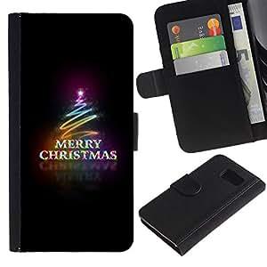 All Phone Most Case / Oferta Especial Cáscara Funda de cuero Monedero Cubierta de proteccion Caso / Wallet Case for Sony Xperia Z3 Compact // Christmas Black Neon Lights Tree