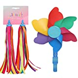 LITOON Children Bicycle Handlebar Streamer & Bike Pinwheel Windmill, Colorful Decoration Accessories for Kid's Bicycle Handlebar Scooter, Tricycles