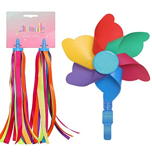 LITOON Bicycle Handlebar Streamer & Bike Pinwheel Windmill, Colorful Decoration Accessories for Kid's Bicycle Handlebar Scooter, Tricycles