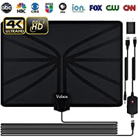TV Antenna,Indoor Digital HDTV Amplified Antennas 80 Miles Range with Adjustable Amplifier Signal Booster 4K1080P HD VHF UHF Freeview for Life Local Channels Support ALL TVs -Never Pay Fees