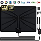 TV Antenna,Indoor Digital HDTV Amplified Antennas 80 Miles Range with Adjustable Amplifier Signal Booster 4K1080P HD VHF UHF Freeview for Life Local Channels Support ALL TV's -Never Pay Fees