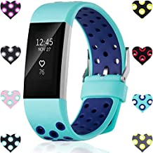 For Fitbit Charge 2 Bands, Wepro Replacement Bands for Charge 2 HR, Air Holes, 12 Colors, Large, Small