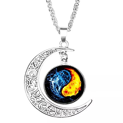 Fire and Water Yin Yang Necklace Sterling Silver Crescent Moon Pendant ()