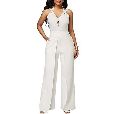 bcf838677d Lielisks Women Jumpsuit Sexy Halter Sleeveless Wide Leg Long Romper Pants  Casual White S