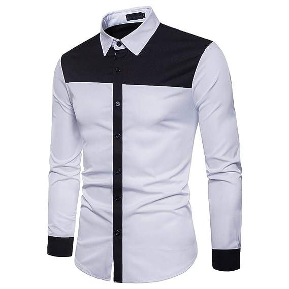 ... para Hombre Negro Blanco Blusa Casual Delgado Personalidad Blanca Plaid Moda Manga Larga Chic Noche Hombres Top Blusa: Amazon.es: Ropa y accesorios