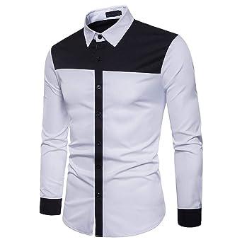Camiseta Hombre, Camisa De Manga Larga para Hombre Negro Blanco Blusa Casual Delgado Personalidad Blanca Plaid Moda Manga Larga Chic Noche Hombres Top ...
