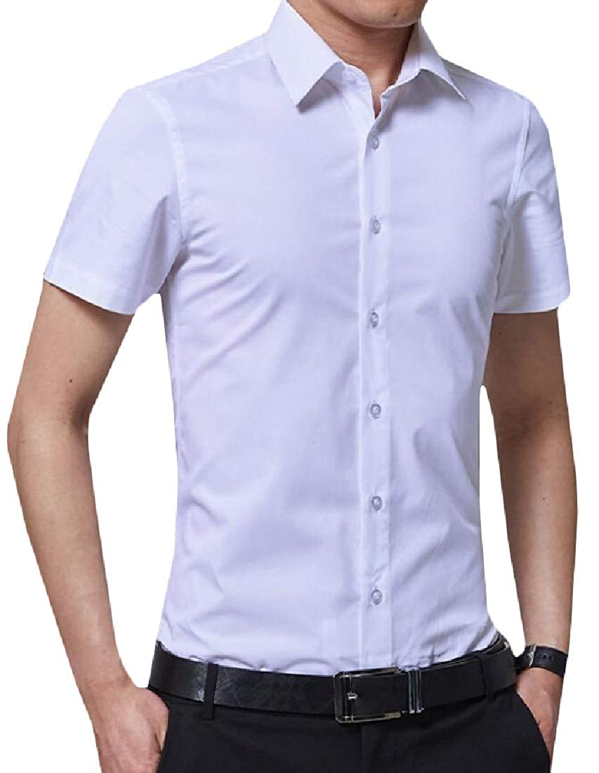 Cromoncent Men Lapel Neck Solid Business Breathable Short Sleeve Button Down Shirts