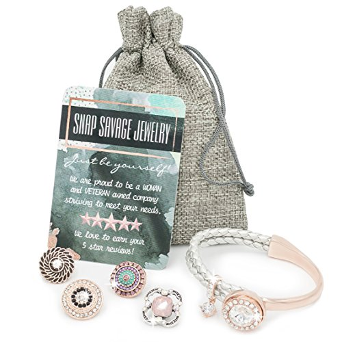 Snap Savage Jewelry Women's Multi Charm Bangle Bracelet - Versatile Any Occasion / 5 in 1 -