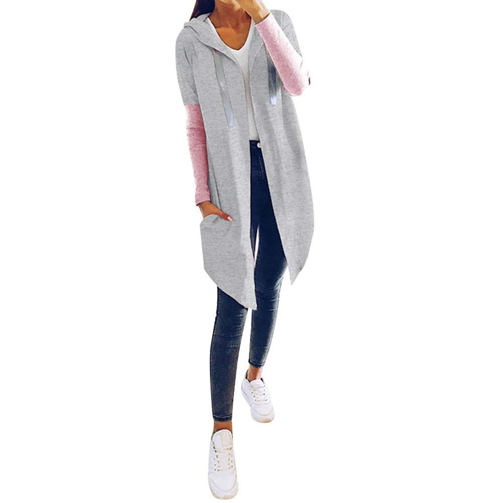 PENGYGY Women's Hooded Coat Long Coats Fashion Waterfall Coat Autumn & Winter Fashion Long Sleeve Hooded Jacket