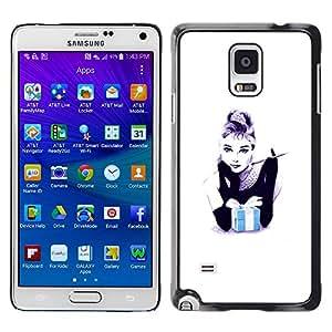 iKiki Tech / Estuche rígido - Gift Black White Minimalist Fashion - Samsung Galaxy Note 4 SM-N910F SM-N910K SM-N910C SM-N910W8 SM-N910U SM-N910