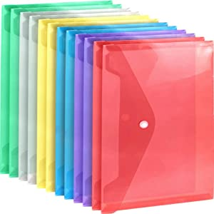 A4 Plastic Envelopes Poly Envelopes, LEOBRO 12 Pack Clear File Bags Document Folders Document Organizers with Snap Button in 6 Assorted Colors for Document Stationery Tools Organization