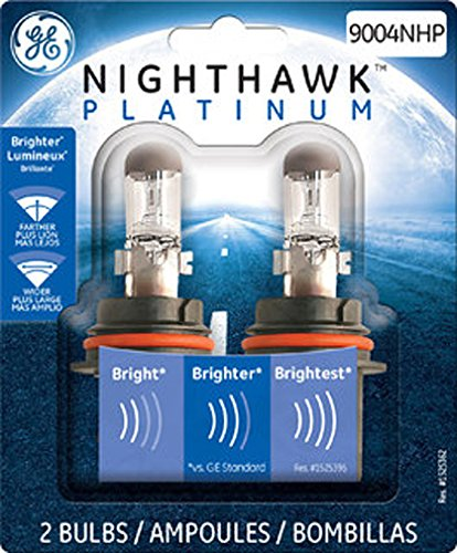 GE Lighting 9004NHP/BP2 Nighthawk Platinum Halogen Replacement Bulb, 2-Pack