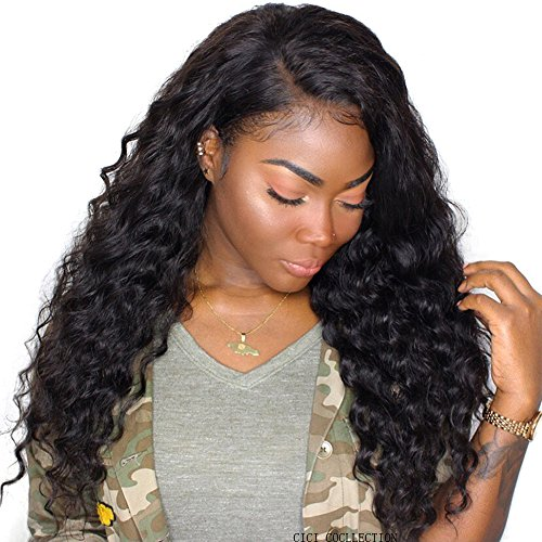Beauty : Cici Collection 360 Lace Frontal Wig Pre Plucked Bleached Knots 180% Density Lace Front Human Hair Wigs For Women 360 Lace Wig Lace Front Wigs Human Hair with Baby Hair (18inch, Deep Wave)