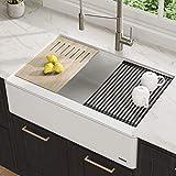 "farmhouse kitchen ideas KRAUS 33"" Bellucci Apron Workstation Kitchen Sink Farmhouse Single Bowl with Cutting Board in White"