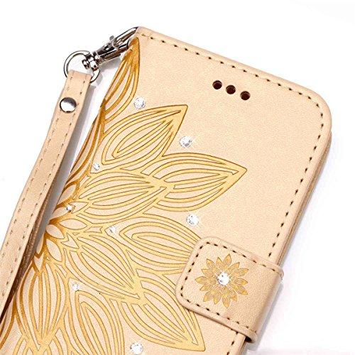 Funda Galaxy A3(2016), Carcasa Plegable para Galaxy A3(2016), Funda de piel Galaxy A3(2016), Lifetrut Sólido Shiny Sparkle libro de estilo funda de cuero con ranura para tarjetas de cierre magnético s E205-Flor en amarillo