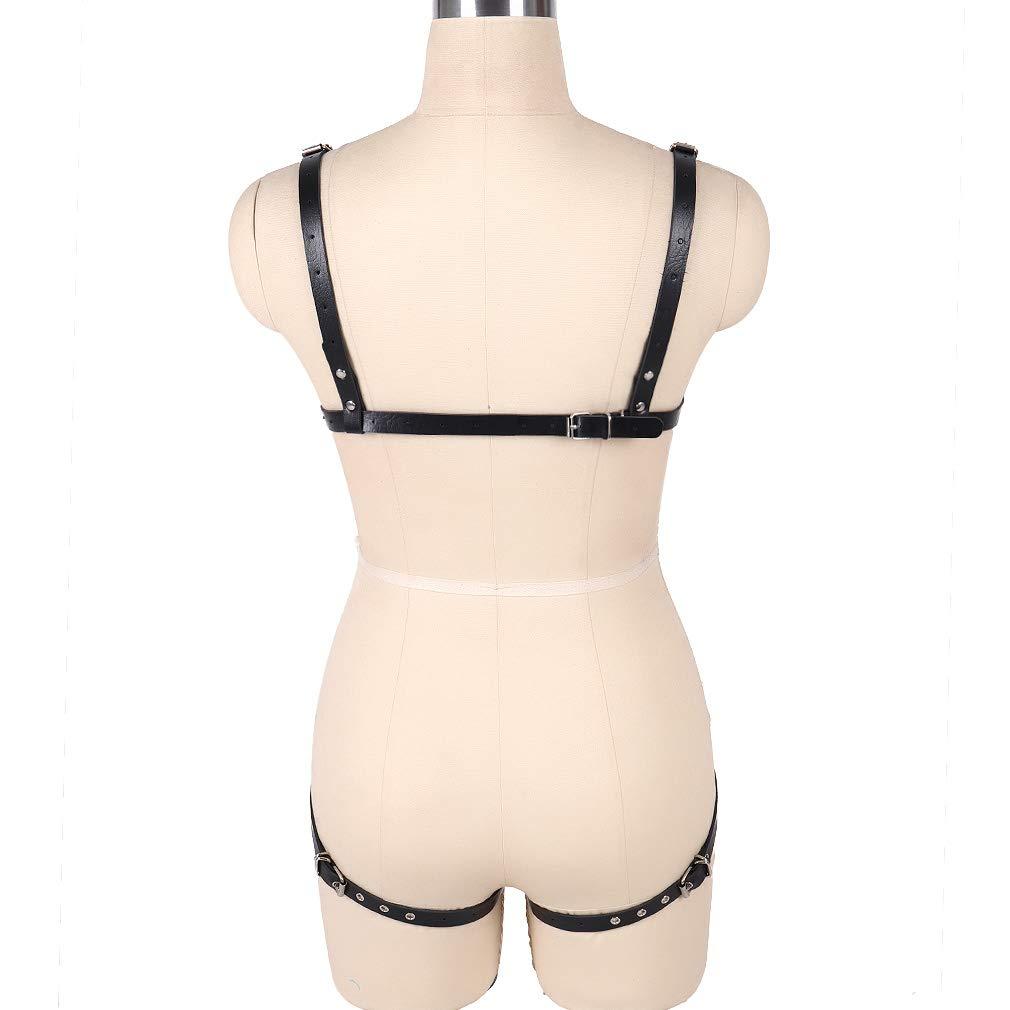 PETMHS Femminile Cablaggio Reggiseno Corpo Cinture Leather Harness Reggicalze Cintura Regolabile Cuoio Punk Leg Rings Body Suit