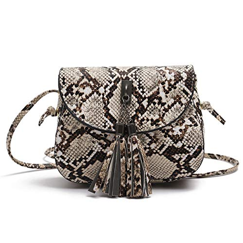 (Elegant Snakeskin Crossbody Purse Small Shoulder Saddle Bag with Tassel for Women Teen Girls)