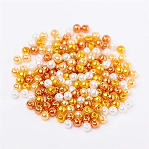 (Calvas Pandahall 4/6/8mm Glass Pearl Beads Round Mixed Color Pearlized Beads for Jewelry Making DIY Bracelet Earrings Findings Hole 1mm - (Color: Caramel, Item Diameter: 8mm-100pcs))