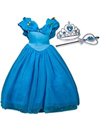 Cinderella Dresses for Girls,Princess Butterflies Cotton Dress Costume for Toddlers With Tiara and Wand