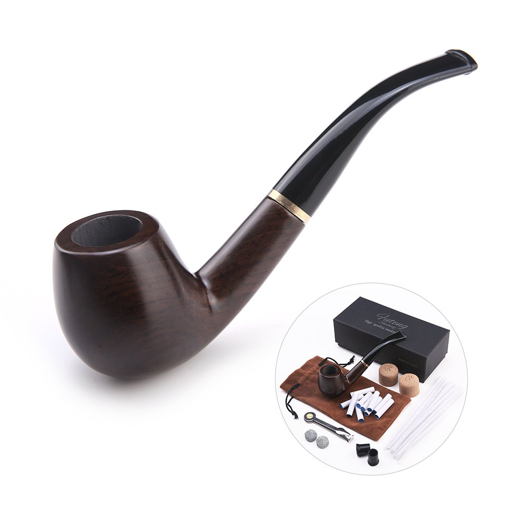 Futeng wooden Tobacco Smoking Pipe, ebony Wood Pipe with Pipe Cleaners, 9 mm Pipe Filters, 3-in-1 Pipe Scraper, Pipe Bits, Metal Balls, Cork Knockers, with Gift Box (Wood grain 1#)