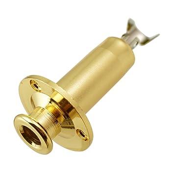 Dovewill - Conector jack de entrada para guitarra de bajo, 6,35 mm, color dorado: Amazon.es: Instrumentos musicales