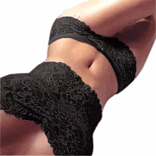 Hemlock Lace Floral Bra Vest Briefs, Women Girls Bustier Crop Top Vest Cami Underwear Set (XXL, Black)