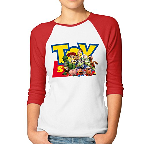 Eronp Women's Toy Story Casual 3/4 Length Sleeve Baseball T Shirts Red (Toy Story Shirts)