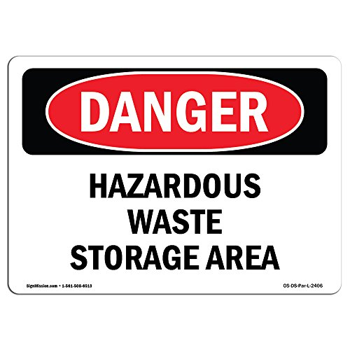 OSHA Danger Sign - Hazardous Waste Storage Area   Aluminum Sign   Protect Your Business, Construction Site, Warehouse & Shop Area   Made in The -