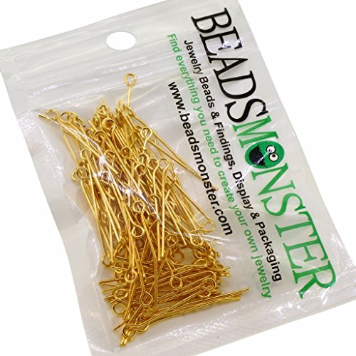 BeadsMonster 40mm Golden Plated Eyepins for Jewelry Making, 15g, around 90~100pcs