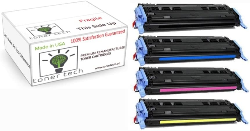 Toner Tech- High Yield Remanufactured OEM Toner Cartridge Replacement Set (Q6000A,Q6001A,Q6002A,Q6003A) for HP 124A/ HP 1600/ HP 2600/ HP 2605 Set (Complete Set)