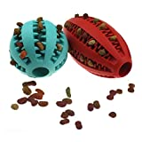 Petdom Dog Chew Toys for Molar, Non-Toxic Indestructible Rubber Pet Bite Balls, Puppy Teeth Cleaner, Doggie IQ Training Treat Dispenser(Aqua Watermelon + Red Rugby)