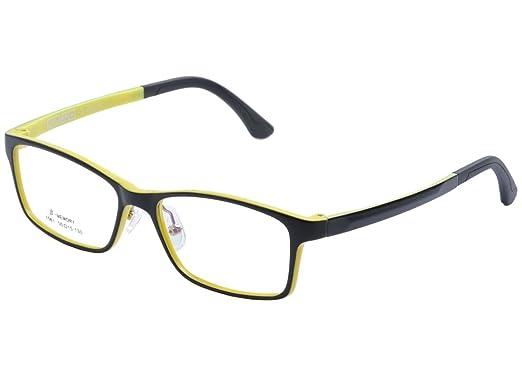 DEDING Kinder leichte optische Brillenfassung, Schwarz / Gelb,