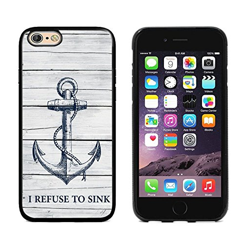 Apple iPhone 6s case,DOO UC (TM) TPU 3D pattern Case for iPhone 6s Black case Wood grain navy anchor I REFUSE TO SINK