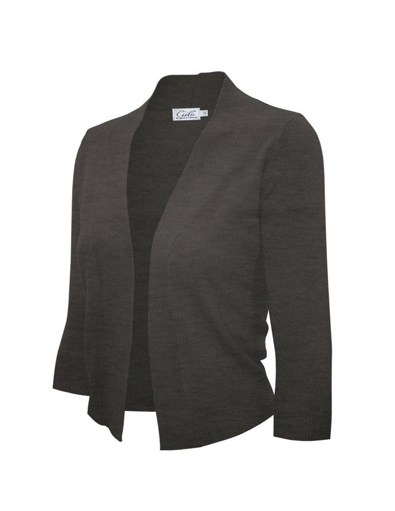 Women's Knit Cropped Sweater Bolero Cardigan Three Quarter Sleeve - Full Sleeve (Medium, SW620 C. Gray)