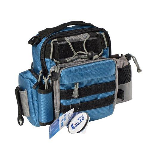 Ilure Multifunction Waterproof Fanny Pack Outdoor Shoulder Daypack Blue Fishing Tackle Waist Bag