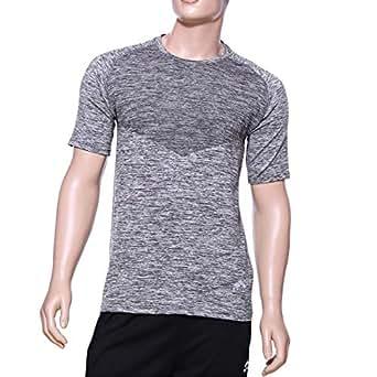 Matris Grey Polyester Round Neck T-Shirt For Men