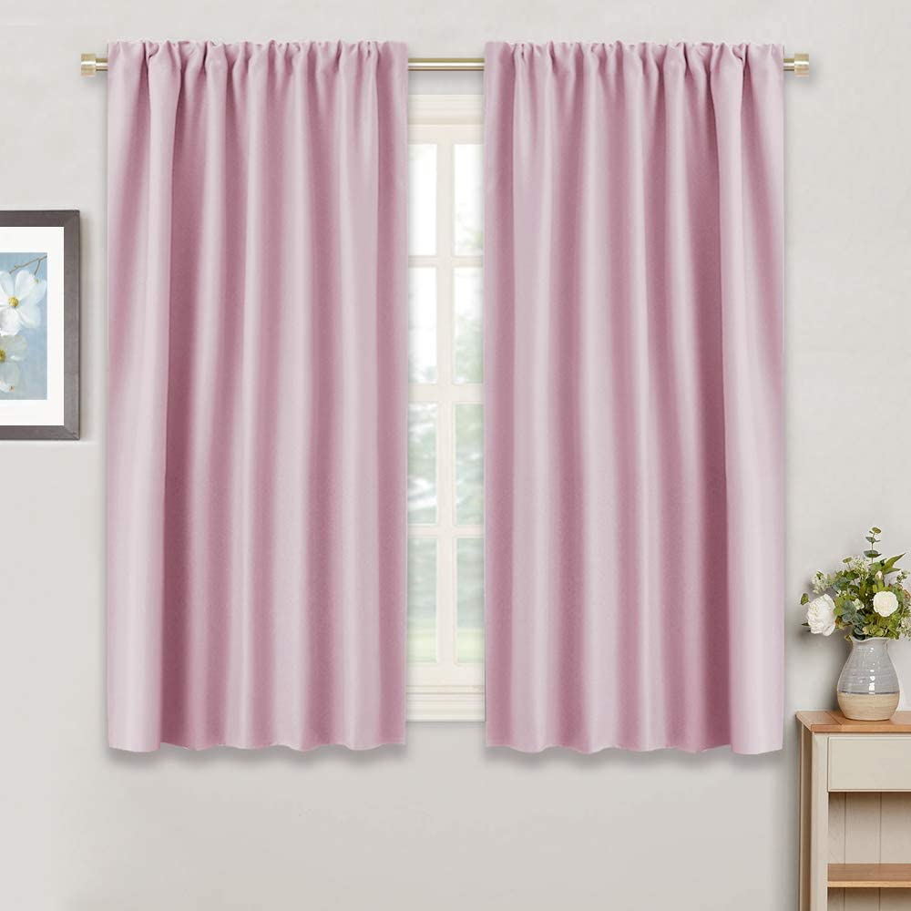 RYB HOME Kids Room Curtains - Room Darkening Window Decor Sunlight Block Thermal Insulated Privacy Draperies for Baby Nursery Living Room Bedroom Foyer, 42 inches Width x 45 inches Length, Pink, 2 Pcs