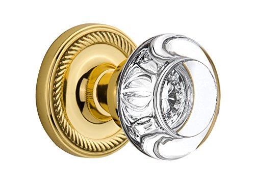 (Nostalgic Warehouse Rope Rosette with Round Clear Crystal Glass Knob, Mortise - 2.25