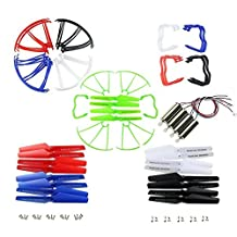 Coolplay® Upgraded 5 Colors Syma X5 X5C X5C-1 20pcs Main Blade Propellers & 20pcs Propeller Protectors Blades Frame & 10pcs Landing Skid & 4pcs Motor for RC Mini Quadcopter Toy