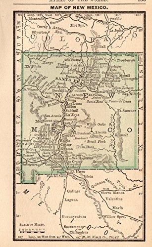 1888 Antique Miniature New Mexico Map Original Vintage Miniature Map of New Mexico Rare Size Not a Reprint Home Decor Gallery Wall Art Birthday Wedding Gift #1086