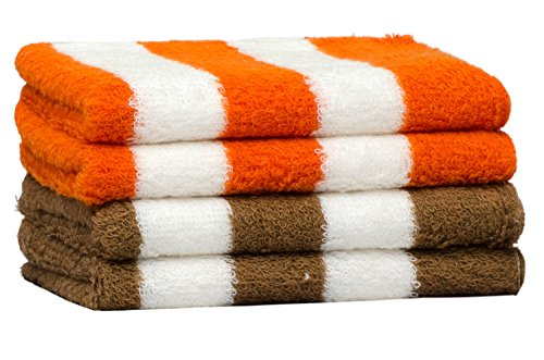 Skumars Love Touch Knitted Cabana Hand Towel – Pack of 4 - Orange & Camel