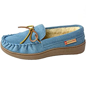bb30c47e1 alpine swiss Sabine Womens Genuine Suede Shearling Slip On Moccasin Slippers  – Classy Queens