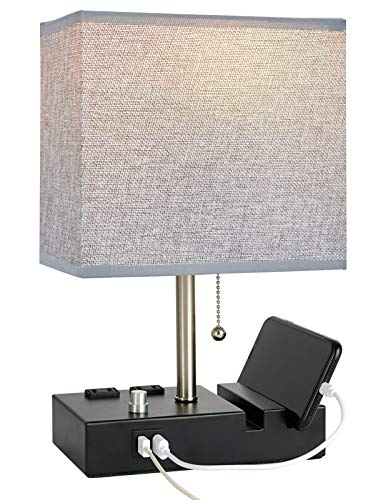 Bedside Lamp with USB Port and Outlet,Simba&Coco Table Lamp with 2 Phone Stands, Grey Fabric Shade,Fully Dimmable…