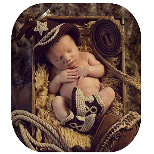 Fashion Unisex Newborn Boy Girl Baby Outfits Photography Props Cowboy Hat Boots ()