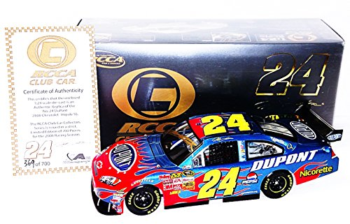 AUTOGRAPHED 2008 Jeff Gordon #24 DuPont Racing Team COT CAR (Hendrick Motorsports) Red Flames RCCA Club Signed Action 1/24 NASCAR Diecast Car with COA (369 of only 700 produced!)