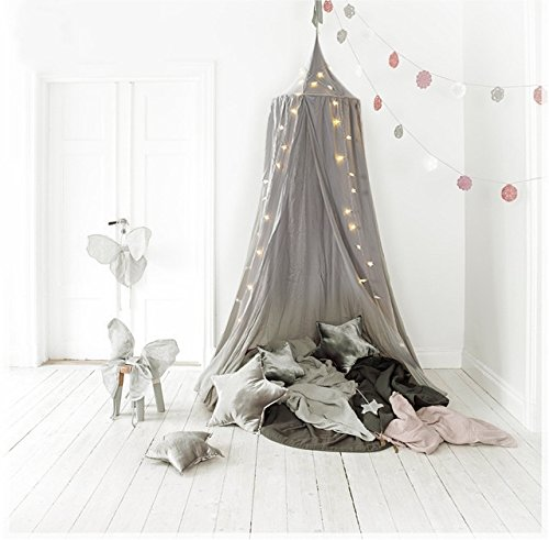 (Nana Dome Princess Bed Canopy for Baby Kids Reading Play Tents Cotton Canvas Height 7.2' (Grey with Lights))